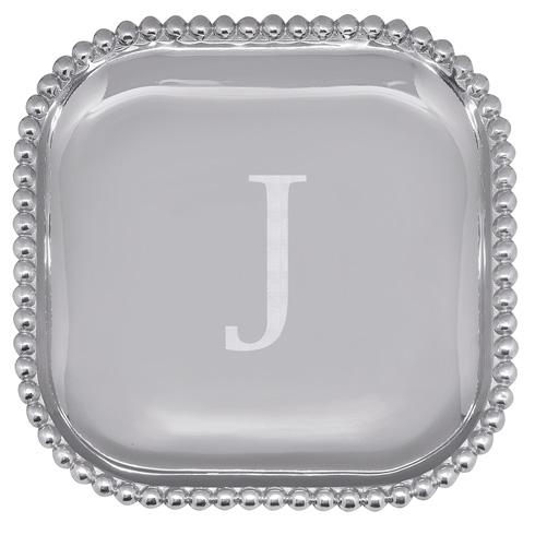 Mariposa Serving Trays and More Mariposa Initial Program J Pearled Square Platter $89.00