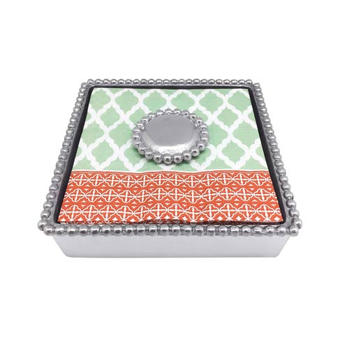 Mariposa Napkin Boxes and Weights String of Pearls Round Pearl Beaded Napkin Box $48.00