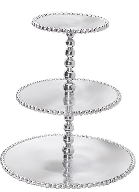 $98.00 Pearled 3-Tiered Cupcake Server