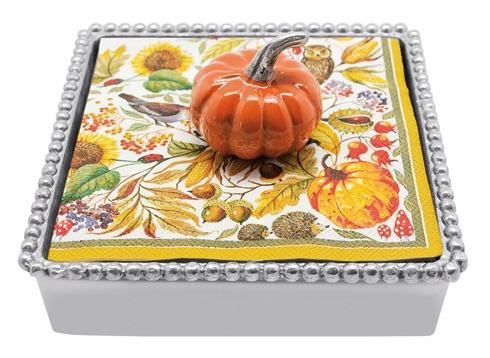 $49.00 Orange Pumpkin Beaded Napkinbox
