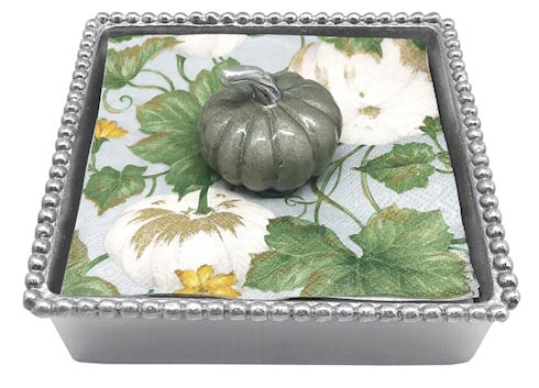 $49.00 Teal Pumpkin Beaded Napkin Box