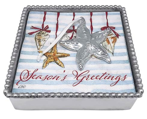 $49.00 Starfish Ornament Beaded Napkin Box