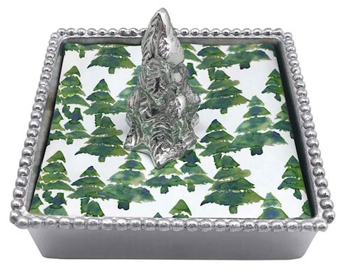 $49.00 Evergreen Tree Beaded Napkin Box