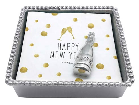 $49.00 Champagne Beaded Napkin Box