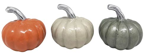 $42.00 Pumpkin Napkin Weight Set Teal, Cream, Orange