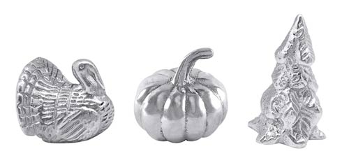 Mariposa  Traditions Holiday Napkin Weight Set Turkey, Pumpkin, Evergreen Tree $42.00