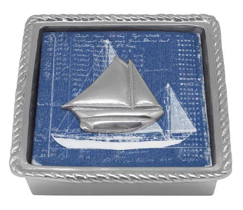 $49.00 Sailboat Rope Napkin Box