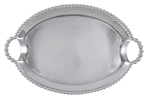Mariposa  String of Pearls Pearled Oval Handled Tray $111.30