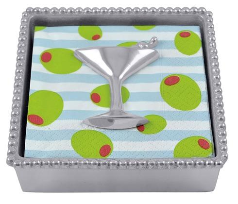 Mariposa Napkin Boxes and Weights Let's Celebrate Cocktail Beaded Napkin Box $48.00