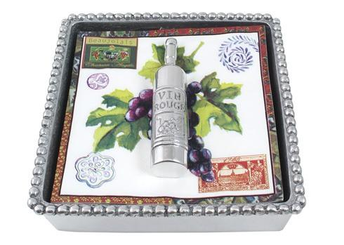 $49.00 Wine Bottle Beaded Napkin Box