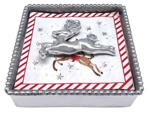 $49.00 Leaping Reindeer Beaded Napkin Box