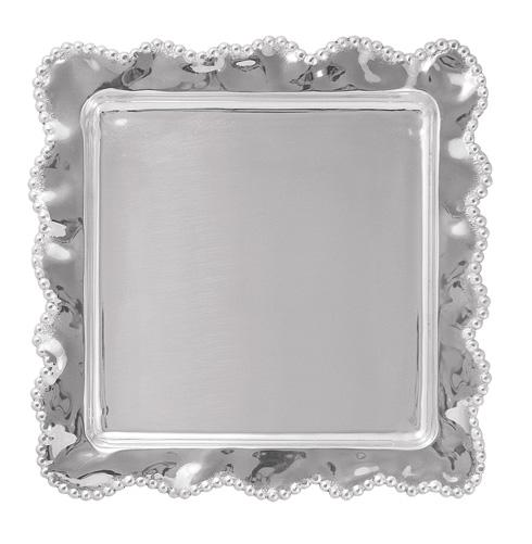 Mariposa Serving Trays and More String of Pearls Pearled Wavy Square Platter $129.00