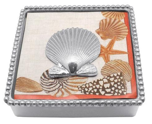 $49.00 Scallop Shell Beaded Napkin Box