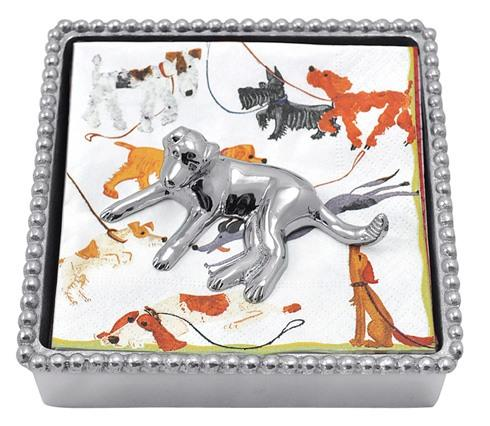 Mariposa Napkin Boxes and Weights Woof Woof Labrador Beaded Napkin Box $48.00