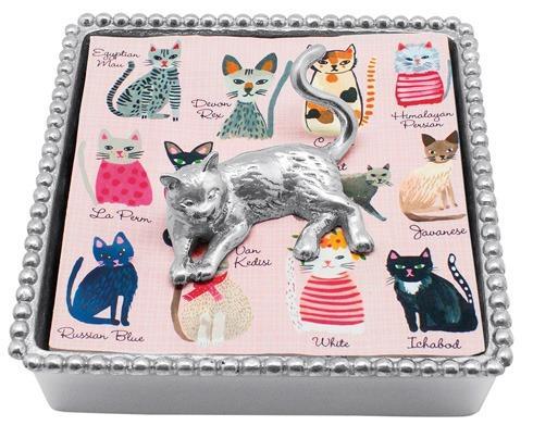 $49.00 Cat Beaded Napkin Box