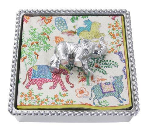 Mariposa Napkin Boxes and Weights Palmy Nights Elephant Beaded Napkin Box $48.00