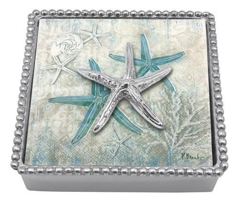 Mariposa Napkin Boxes and Weights Seaside Spiny Starfish Beaded Napkin $48.00