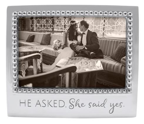 Mariposa Photo Frames Engraved Statements He Asked. She Said Yes Beaded $49.00