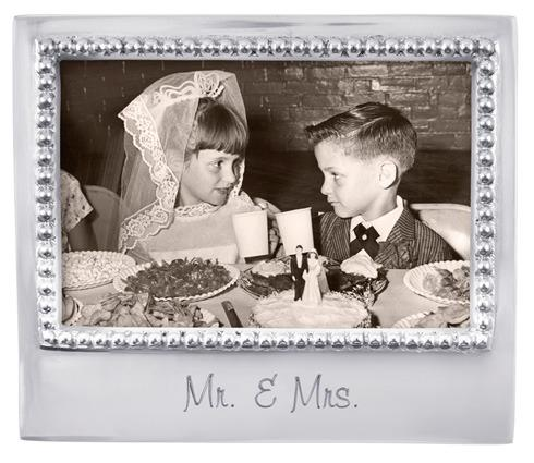 Mariposa  Engraved Statements Mr. & Mrs. Beaded 4X6 Frame $49.00
