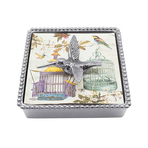 Mariposa Napkin Boxes and Weights Gregarious Garden Hummingbird Beaded Napkin Box $48.00