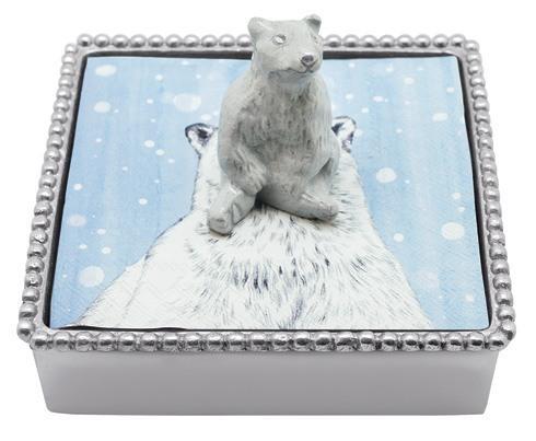 Mariposa Napkin Boxes and Weights Traditions White Polar Bear Beaded Napkin $48.00