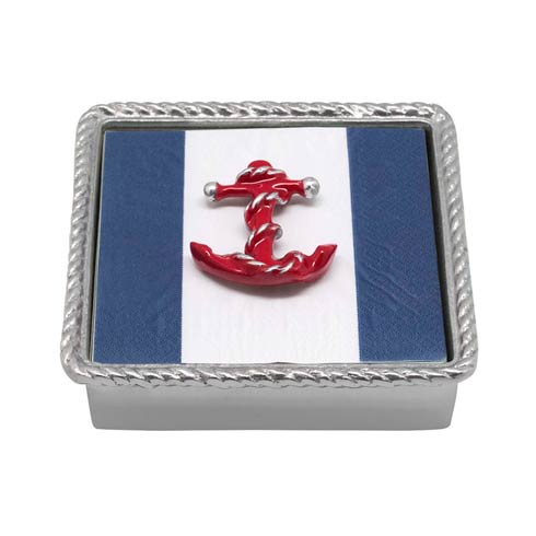 $49.00 Red Anchor Rope Napkin Box