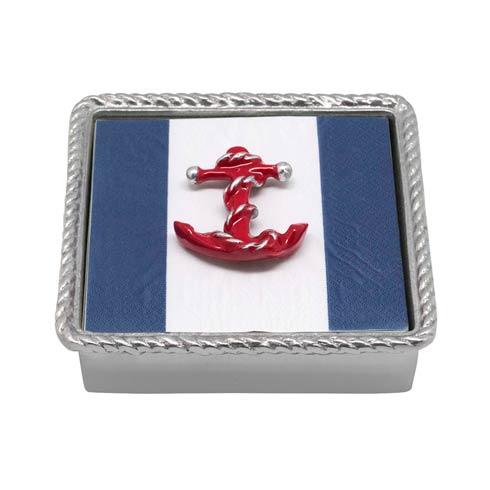 Mariposa  High Seas Red Anchor Rope Napkin Box $49.00