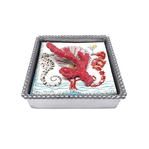 $49.00 Red Coral Beaded Napkin Box