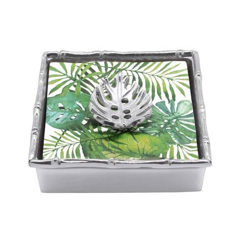 Mariposa  Palmy Nights Tropical Leaf Bamboo Napkin Box $49.00