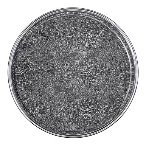 $295.00 Round Metal Tray with Shagreen Insert