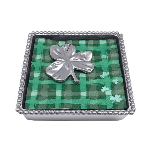 Mariposa Napkin Boxes and Weights Let\'s Celebrate Shamrock Beaded Napkin Box $49.00