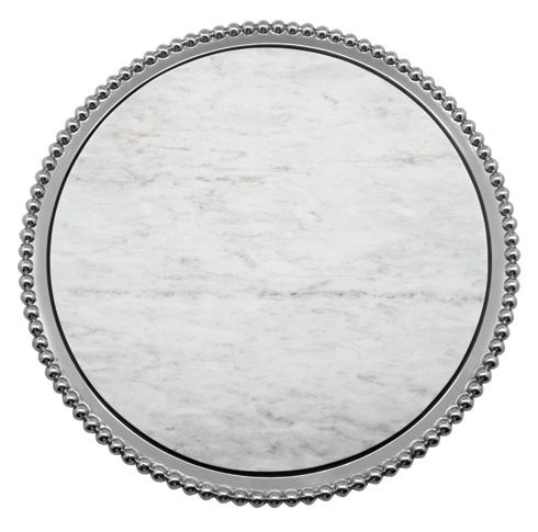 Mariposa Serving Trays and More String of Pearls Pearled Marble Round Platter $169.00