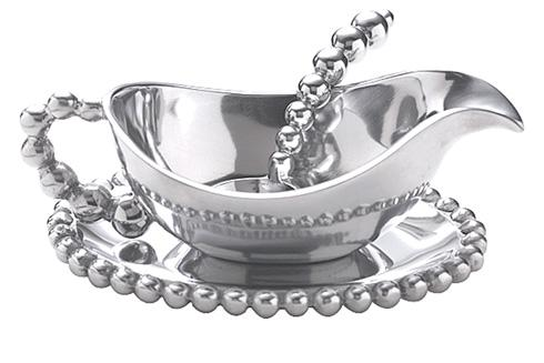 Mariposa Table Accessories String of Pearls Pearled Gravy Boat Set $98.00