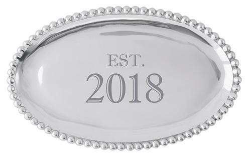 Mariposa Statement Trays Engraved Statements Est. 2018 Pearled Oval $84.00