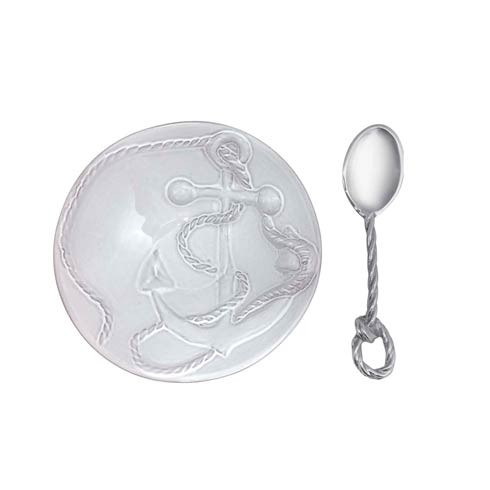 $49.00 Anchor Ceramic Nut Dish with Rope Spoon