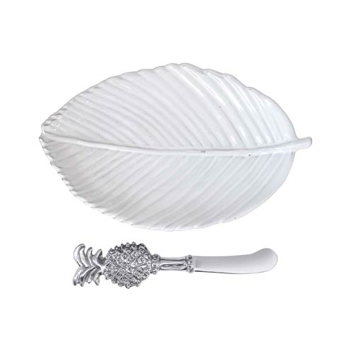 $59.00 Leaf Ceramic Plate with Pineapple Spreader
