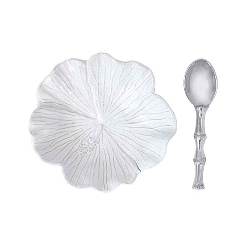 $49.00 Hibiscus Ceramic Bowl with Bamboo Spoon