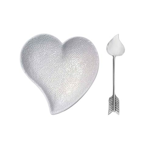 $49.00 Heart Ceramic Dish with Arrow Spoon