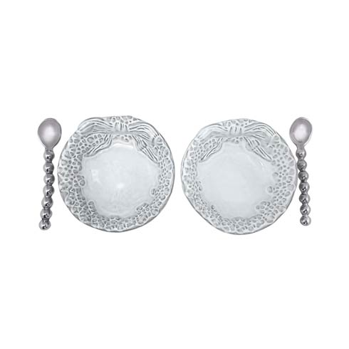 $59.00 Dotty Wreath Ceramic Open Salt Spoon Set