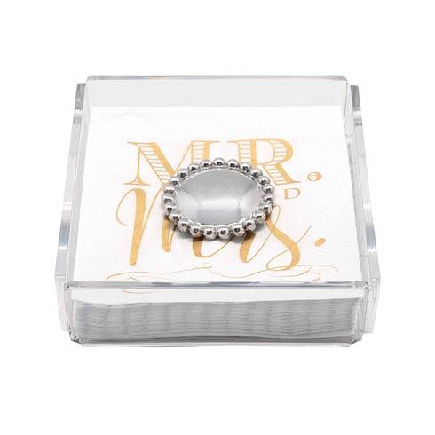 $27.30 Mr. & Mrs. Pearled Acrylic Napkin Box