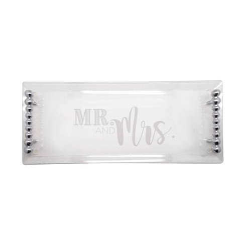 $98.00 Mr. & Mrs. MR. & MRS. Pearled Handle Acrylic Tray