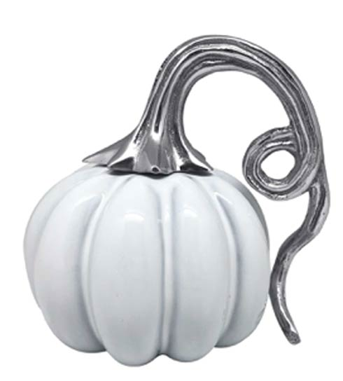 $79.00 Ceramic Heirloom Small Pumpkin with Metal Stem