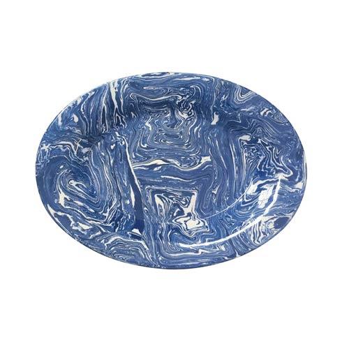 Cobalt Marble Ceramic Oval Platter