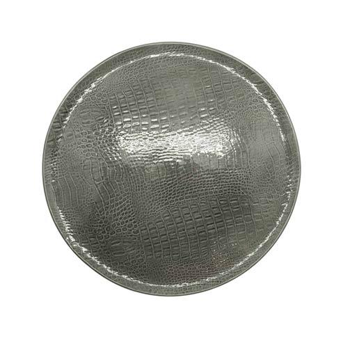 $189.00 Gray Crocodile Ceramic Round Platter