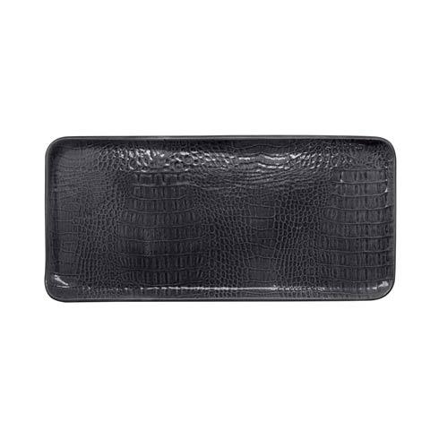 $89.00 Black Crocodile Ceramic Rectangular Platter