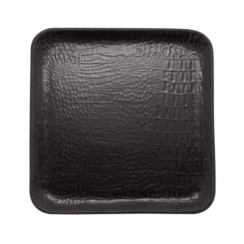 $75.00 Black Crocodile Ceramic Small Square Plate