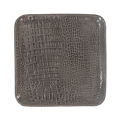 $45.00 Gray Crocodile Ceramic Small Square Plate