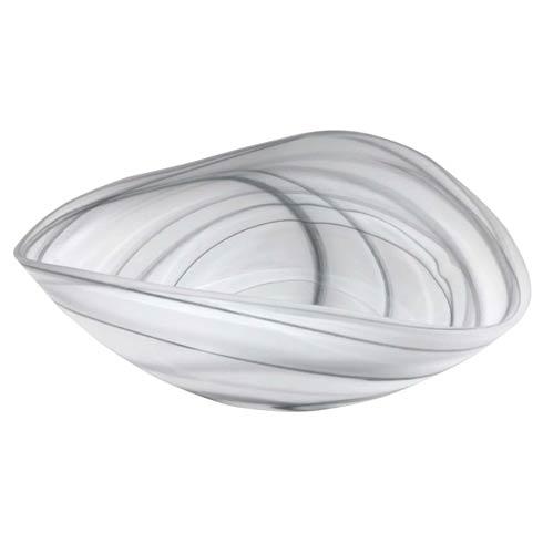 Mariposa  Alabaster Black & White Matte Decorative Bowl $79.00