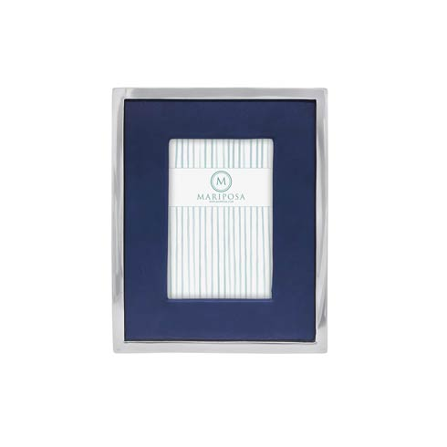 $98.00 Blue Leather with Metal Border 4x6 Frame