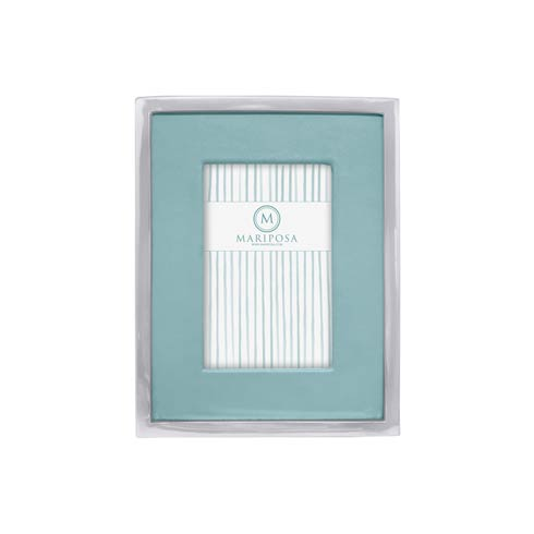 $98.00 Teal Leather with Metal Border 4x6 Frame